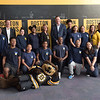 TIM JEAN/Staff photo<br /> <br /> Spark Academy students pose in the new STEM lab with Boston Bruins mascot, Blades the Bruin, Lieutenant Governor, Karyn Polito, Dan McGee, Red River COO, and Bob Sweeney, Boston Bruins Foundation President. The Boston Bruins Foundation and in Partnership with Red River Charitable Foundation built the state of the art STEM lab for the school.     10/25/19