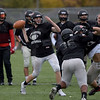 TIM JEAN/Staff photo<br /> <br /> North Andover quarterback Peter Radulski throws a pass during practice Tuesday afternoon.   10/22/19