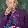 TIM JEAN/Staff photo<br /> <br /> Gelsomina Palese, of Methuen, eats a piece of her birthday cake with her family on Saturday. Palese will observe her 101st birthday on Monday, Oct. 21.    10/19/19