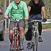 "MIKE SPRINGER/Staff photo<br /> Mark Kaluzny, left, and Jon Honea, both of Andover, ride bicycles with the ""Limping Tomorrow"" team on Sunday during the 2nd Annual Andover Scramble. Participants hiked, biked, and paddled kayaks and canoes during the event.<br /> 10/06/2019"