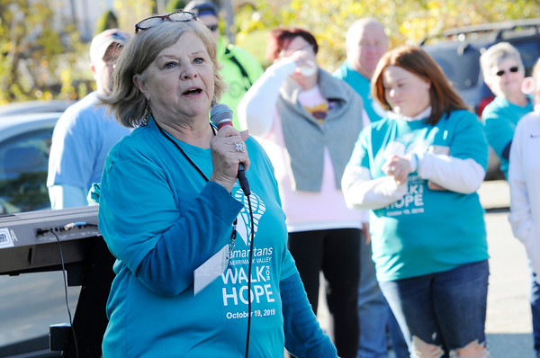 TIM JEAN/Staff photo<br /> <br /> Samaritans Director, Debbie Helms welcomes the crowd to the Samaritans of Merrimack Valley 3rd annual Walk for Hope. 10/19/19