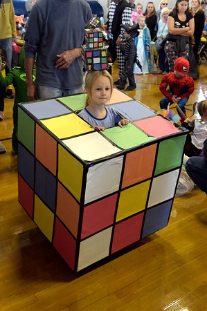 TIM JEAN/Staff photo<br /> <br /> Sonya Leblanc, 4, of Freemount won the judges most creative costume in her age group during the Spooktacular Costume Parade & Contest in Veterans Hall Gymnasium in Derry.   10/26/19