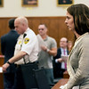 TIM JEAN/Staff photo<br /> <br /> Caroline Pineau, right, walks towards the back of the courtroom after a hearing for a stay away order against Lloyd Jennings, seen in background, in Haverhill District Court. Pineau did not get the order.  10/3/19