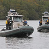 MIKE SPRINGER/Staff photo<br /> Lawrence and Andover police train Thursday with the Massachusetts Environmental Police on the Merrimack River near the Abe Bashara Boathouse in Lawrence.<br /> 10/06/2019