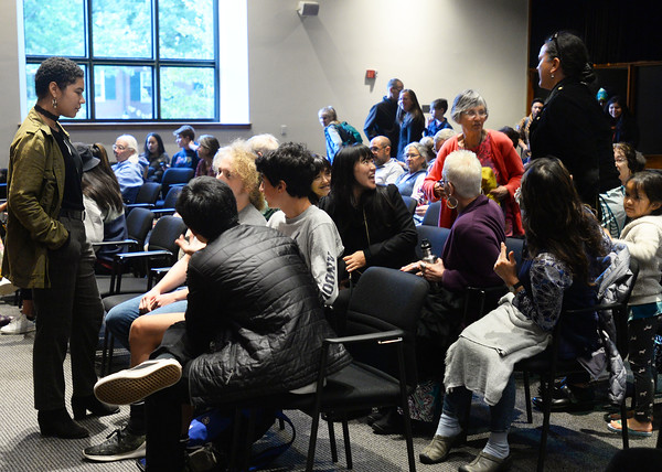 CARL RUSSO/Staff photo A large crowd gathers in Kemper Auditorium on the campus of Phillips Academy to see the performance of My Name is Ōpūkahaʻia. <br /> 10/4/2019