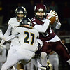 CARL RUSSO/Staff photo Timberlane's Robert Olson makes the catch surrounded by Windham defenders. Windham defeated Timberlane 17-14 in football action. 10/18/2019