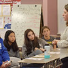TIM JEAN/Staff photo<br /> <br /> Melissa Murphy-Rodrigues, right, North Andover Town Manager speaks to eight grade students durning a Civics in Action Speaker Series at North Andover Middle School.     10/11/19