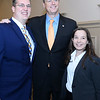 CARL RUSSO/Staff photo Representing Middlesex Community College, Adam Nichols and Julia Hryniewich have their photo taken with The Governor Baker. <br /> <br /> Merrimack Valley Chamber of Commerce held their annual 2019 dinner and award ceremony. The event, held at DiBurro's Function Facility  Wednesday night, featured Massachusetts Governor, Charlie Baker as the guest speaker. 10/02/2019