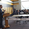 TIM JEAN/Staff photo<br /> <br /> Bob Sweeney, Boston Bruins Foundation President speaks with students in the new STEM lab at the Spark Academy in Lawrence. The Boston Bruins Foundation and in Partnership with Red River Charitable Foundation built the state of the art STEM lab for the school.     10/25/19