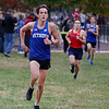 MIKE SPRINGER/Staff photo<br /> Xavier Metivier of Methuen runs to victory Wednesday in a cross country meet with Haverhill and Tewksbury at Methuen. <br /> 10/16/2019