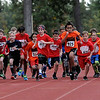 TIM JEAN/Staff photo<br /> <br /> Fifth grade boys from Londonderry's three elementary schools take off from the starting line during the annual town wide cross country races at Londonderry High.    10/10/19