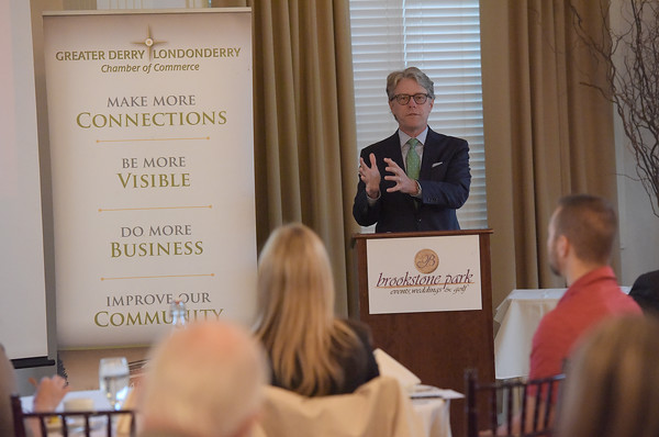TIM JEAN/Staff photo<br /> <br /> Taylor Caswell, Commissioner, NH Department of Business and Economic Affairs speaks during the Greater Derry Londonderry Chamber of Commerce Vision for Southern New Hampshire 2020 Breakfast at Brookstone Event Center in Derry.    10/17/19
