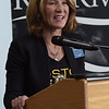 TIM JEAN/Staff photo<br /> <br /> Lieutenant Governor, Karyn Polito, speaks with students in the new STEM lab at the Spark Academy in Lawrence. The Boston Bruins Foundation and in Partnership with Red River Charitable Foundation built the state of the art STEM lab for the school.     10/25/19