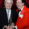 CARL RUSSO/Staff photo. Ray DiFiore, left, of Methuen accepts his award from the ''Ringmaster'' for the evening, Thomas Connors, President and CEO of American Training in Andover.  <br /> <br /> American Training celebrated its 40th Anniversary and presented Ray DiFiore of Methuen with the 2019 Life Matters Award during the 18th Annual Life Matters Awards and Greatest Show On Earth circus theme Gala on October 25 at the Andover Country Club. DiFiore was honored with the Life Matters Award for his dedicated career in public service in Lawrence and Methuen, and his commitment to American Training. <br /> <br /> Several other people and businesses were also honored with awards for Outstanding Partners, Vendor of the Year and Company of the Year. <br /> <br /> American Training is a non-profit organization based in the Merrimack Valley that provides housing, education, training & support services to people with disabilities, youth at risk & adult learners who are looking for a pathway towards a more meaningful life. 10/25/2019