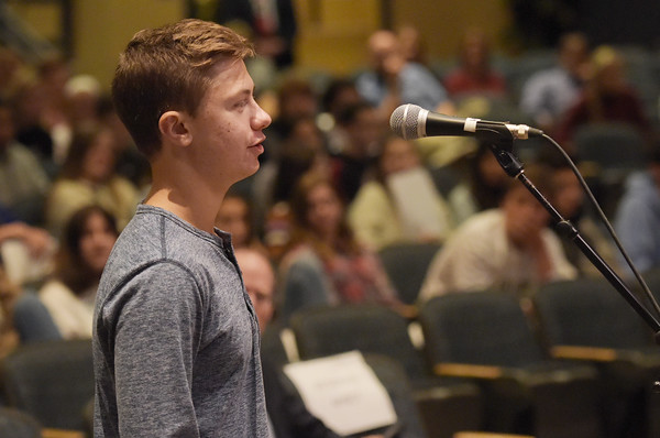 "TIM JEAN/Staff photo<br /> <br /> Nick Barbara, a junior at Windham High School asks a question to members of New Hampshire Supreme Court during their ""On the Road"" series.   10/16/19"