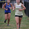 MIKE SPRINGER/Staff photo<br /> Brynne LeCours, right, of Haverhill runs ahead of Miana Caraballo of Methuen in a cross country meet Wednesday in Methuen. <br /> 10/16/2019
