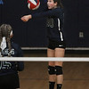 MIKE SPRINGER/Staff photo<br /> Stephanie Moreau of Presentation of Mary hits the ball during varsity volleyball play Thursday against Nashoba Valley Tech at Methuen.<br /> 10/24/2019