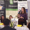 TIM JEAN/Staff photo<br /> <br /> Gerry Lynn Darcy, SVP, Development Lupoli Companies speaks during the Merrimack Valley Chamber of Commerce annual Women in Business Conference. The luncheon held at Michael's Function Hall, and featured speaker was Congresswoman Lori Trahan.   10/25/19