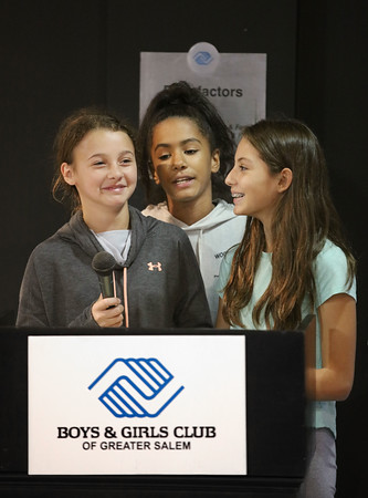 MIKE SPRINGER/Staff photo<br /> From left, Julianna Capsalis, 12, Amaia Gomez, 12, and Giana Moniz, 11, speak Thursday during the grand opening of the new Judgement Free Zone exercise room at the Boys and Girls Club in Salem.<br /> 10/17/2019