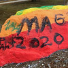 "COURTESY PHOTO<br /> ""The Rock"" outside of Andover High School as it appeared over the weekend after it was vandalized following the school's gender sexuality alliance painted it in rainbow colors for National Coming Out Day."