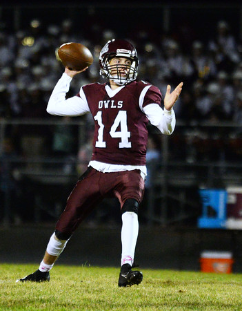 CARL RUSSO/Staff photo Timberlane's quarterback, Jared Morrison looks for the open receiver. Concord defeated Timberlane 28-14 in Friday night football action. 10/4/2019