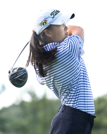 CARL RUSSO/staff photo. Andover golfer, Alicia Wang tee'd off at the start of the meet. Andover vs.Central Catholic in golf action at the Renaissance Country Club in Haverhill. 9/17/2019