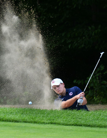 CARL RUSSO/staff photo. Central Catholic's Kyle Espinola clears the sand trap. Andover vs. Central Catholic in golf action at the Renaissance Country Club in Haverhill. 9/17/2019