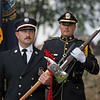 MIKE SPRINGER/Staff photo<br /> Salem firefighter Rob Douglas, left, and police officerKevin Swanson serve in the honor guard during a ceremony Wednesday dedicating the 9/11 Monument on the Salem Town Common.<br /> 9/10/2019