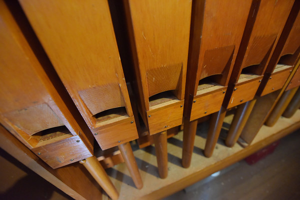 TIM JEAN/Staff photo<br /> <br /> A narrow access way leads to the back of the Hook and Hastings organ (Opus 2559) installed in the sanctuary balcony of the North Andover Meeting House built in 1836.    9/26/19