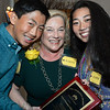 CARL RUSSO/staff photo. Robyn Sweeney-Glickel of Barclay Personnel is congratulated by her children, Hunter, 14 and Xiara,16 after receiving the Greater Salem Chamber of Commerce 2019 Chairman's Award at the 31st. annual dinner and award ceremony.  <br /> <br /> Michael Delahanty, Salem School District Administrator; Clare Macoul, Enterprise Bank and Robyn Sweeney-Glickel, Barclay Personnel will all be honored at the 2019 Annual Dinner Meeting and Awards Ceremony on Sept. 25.<br />  <br /> Delahanty is winning the 2019 William A. Brown Business person of the Year Award. <br /> Macoul is winning the 2019 Volunteer of the Year. Sweeney-Glickel is winning the 2019 Chairman's Award. 9/25/2019