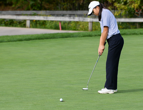 CARL RUSSO/staff photo. Andover golfer, Alicia Wang is unable to sink her putt. Andover vs.Central Catholic in golf action at the Renaissance Country Club in Haverhill. 9/17/2019