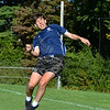 "CARL RUSSO/Staff photo Timberlane senior soccer player, Ryan Boggiatto heads the ball during practice. <br /> <br /> This will be the end of an era for Timberlane boys soccer. Seniors Cameron Ross, Dimitri Kakouris, Matt Barney, Shawn Perry, Ryan Boggiatto and Joe Casey are all the youngest siblings of many who have come through both the boys and girls programs at Timberlane. But for their ""last ride"" together, the Owls have started the season an undefeated 5-0-2.  9/27/2019"