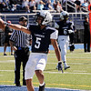 TIM JEAN/Staff photo<br /> <br /> Lawrence's Manny Lara celebrates scoring a touchdown after breaking a tackle against Andover during the football game at Lawrence Veterans Memorial Stadium.   9/28/19