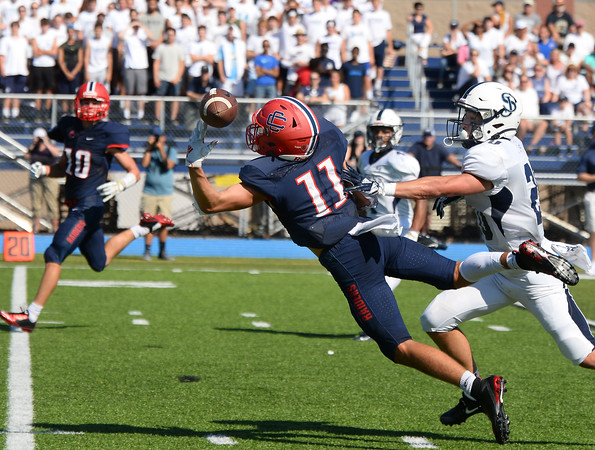 CARL RUSSO/Staff photo. St John's Prep defeated Central Catholic 28-14 in Saturday afternoon football action.  9/21/2019