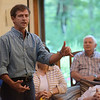TIM JEAN/Staff photo<br /> <br /> Democratic presidential candidate Joe Sestak speaks during a campaign stop at the home of Salem Democratic Town Chair Janet Breslin-Smith and her husband Jim Smith.  9/12/19