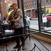 """TIM JEAN/Staff photo<br /> <br /> Singer Dave """"Texas"""" Hardwick performs in Battle Grounds Coffee in the Open Mic, during the first annual Art Walk throughout downtown Haverhill.     9/14/19"""