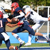 CARL RUSSO/Staff photo. Central's John Mercuri, center is unable to catch the ball before hitting the ground after St. John's Pat Nistl knocked the ball away from him in the end zone. St John's Prep defeated Central Catholic 28-14 in Saturday afternoon football action.  9/21/2019