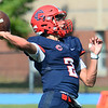 CARL RUSSO/Staff photo. Central's quarterback, Ayden Pereira goes for the long pass. St John's Prep defeated Central Catholic 28-14 in Saturday afternoon football action.  9/21/2019