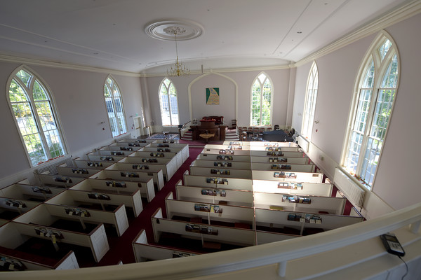 TIM JEAN/Staff photo<br /> <br /> The view of the sanctuary from its balcony of the North Andover Meeting House built in 1836.    9/26/19