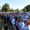 RYAN HUTTON/ Staff photo <br /> A crowd of hundreds showed up at Elmwood Cemetery  for the funeral of Methuen native and Korean War veteran Eileen Robichaud on Friday. A call was put out for people to attend her funeral after it was discovered that she had very few living relatives.