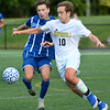CARL RUSSO/Staff photo. Methuen's Nassiam Bendimerad, left and Haverhill's Jaden Shaut battle, for the ball. Haverhill defeated Methuen 1-0 in boys soccer action Tuesday afternoon. 9/24/2019