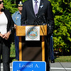 TIM JEAN/Staff photo<br /> <br /> Governor Charlie Baker speaks during the dedication ceremony for Rondon Square. The square is on the corner of Chestnut and Jackson St., Lawrence not far from where Leonel Rondon had lived. Rondon was the single fatality in the Sept. 13, 2018 gas disaster.  9/13/19
