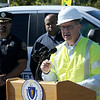 TIM JEAN/Staff photo<br /> <br /> Columbia Gas of Massachusetts President Mark Kempic  answers questions during a press conference about the major gas leak in South Lawrence. Behind him is from left, Lawrence Police Chief Roy Vasque, Lawrence Mayor Daniel Rivera, and Lawrence Fire Chief Brian Moriarty.       9/27/19