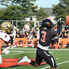 CARL RUSSO/Staff photo. Reggie wide receiver, Anthony Alves is unable to hold onto this long pass. Greater Lawrence Tech. defeated Northeast high in Friday football action. 9/20/2019