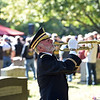 "RYAN HUTTON/ Staff photo <br /> Sam Poulten plays ""Taps"" at the funeral of Methuen native and Korean War veteran Eileen Robichaud at Elmwood Cemetery on Friday."