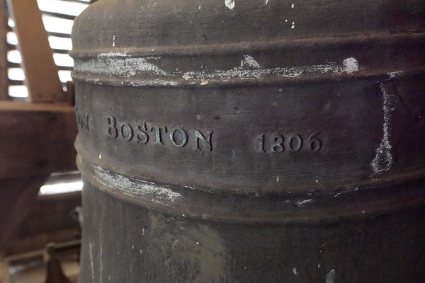 TIM JEAN/Staff photo<br /> <br /> The Revere bell inside the tower of the North Andover Meeting House. It was built in 1836. The Meeting House bell is one of 23 remaining Bells cast by Paul Revere and his son Joseph, during his tenure with the Foundry.  9/26/19
