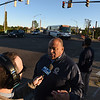 RYAN HUTTON/ Staff photo <br /> Lawrence Mayor Dan Rivera gives an update to the media at the intersection of Merrimack Street and Broadway in Lawrence on Friday after a reported major gas leak caused a lockdown and evacuation of the area.