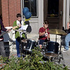 "TIM JEAN/Staff photo<br /> <br /> The student band ""Live Wire"" from left to right, Rafel Quiros, Isaac Dinges, Sam Pearce, and Chris Shepley perform during community gathering on the anniversary of the Sept. 13, 2018 gas disaster outside the Old Town Hall in Andover.  9/13/19"