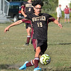 CARL RUSSO/Staff photo. Whittier's Keenan Allen kicks the ball on net. Whittier Tech. defeated the Minuteman 3-0 in boys soccer action Monday afternoon. 9/16/2019