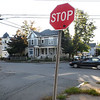 CARL RUSSO/Staff photo A car traveling on Webster Street crosses the  intersection of Park and Webster Streets in Haverhill.  <br /> <br /> A busy intersection has council wanting to slow traffic down, repaint crosswalk that's faded in that area. Haverhill city council is considering changing the intersection at Park and Webster Streets to a 4-way stop sign due to heavy traffic. 9/27/2019